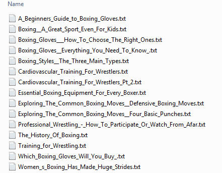 boxing wrestling plr articles